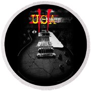 Abstract Relic Guitar Usa Flag Round Beach Towel