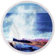 Crashing Waves At Schoodic Point Abstract Round Beach Towel