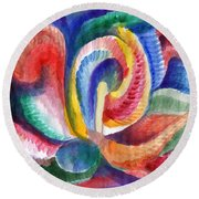 Abstraction Bloom Round Beach Towel