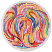 Abstraction In Autumn Colors Round Beach Towel