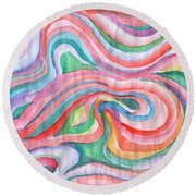Abstraction In Spring Colors Round Beach Towel