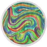 Abstraction In Summer Colors Round Beach Towel