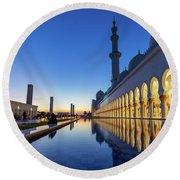 Abu Dhabi Grand Mosque At Night Round Beach Towel