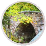 Acadia National Park - Amphitheater Bridge Round Beach Towel