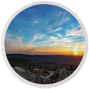 Round Beach Towel featuring the photograph Achtermann Sunset, Harz by Andreas Levi