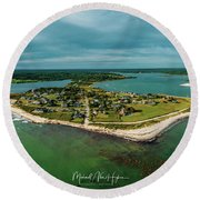 Round Beach Towel featuring the photograph Acoaxet Life, Westport by Michael Hughes