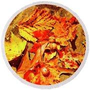 Acorns Fall Maple Oak Leaves Round Beach Towel