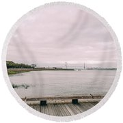 Across The Marsh Round Beach Towel