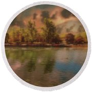 Round Beach Towel featuring the photograph Across The Water by Leigh Kemp