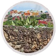Round Beach Towel featuring the photograph Ad-hock Alarm System In Mexico by Tatiana Travelways