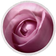 Adorable Soft Pink Rose Macro Photo Round Beach Towel