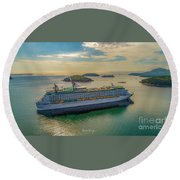 Round Beach Towel featuring the photograph Adventure Of The Seas, Bar Harbor  by Michael Hughes