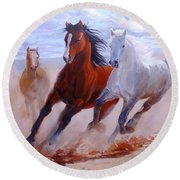 Adventurous Horses Round Beach Towel