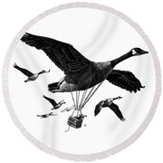 Round Beach Towel featuring the drawing Aero Canada - Bw by Clint Hansen