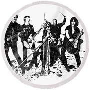 Aerosmith Band Black And White Watercolor 01 Round Beach Towel