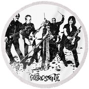 Aerosmith Band Black And White Watercolor 02 Round Beach Towel