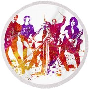 Aerosmith Band Watercolor Splatter 01 Round Beach Towel