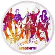 Aerosmith Band Watercolor Splatter 03 Round Beach Towel