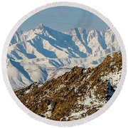 Round Beach Towel featuring the photograph Afghanistan Hindu Kush Snowy Peaks by SR Green
