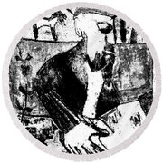 After Childish Edgeworth Black And White Print 26 Round Beach Towel