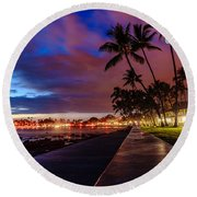 After Sunset At Kona Inn Round Beach Towel
