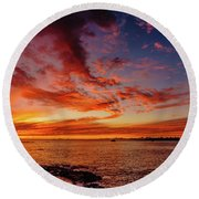 After Sunset Colors At Kailua Bay Round Beach Towel