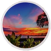 After Sunset Colors Round Beach Towel
