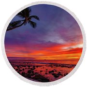 After Sunset Vibrance Round Beach Towel