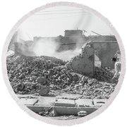 Round Beach Towel featuring the photograph After The Collapse by SR Green
