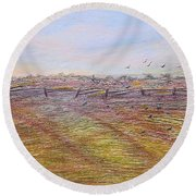 After The Harvest Round Beach Towel