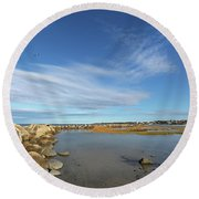 Afternoon At Corporation Beach Round Beach Towel