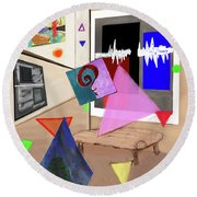 Afternoon At The Museum Round Beach Towel