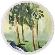 Afternoon In The Park Round Beach Towel