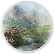 Afternoon Light In The Alps II Round Beach Towel