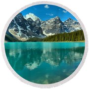 Afternoon Rocky Reflections At Moraine Lake Round Beach Towel