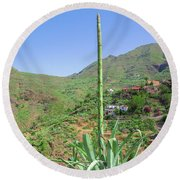 Agave With Flower Spear In Masca Round Beach Towel