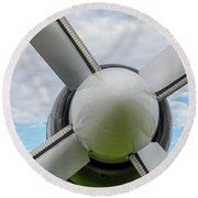 Round Beach Towel featuring the photograph Aircraft Propellers. by Anjo Ten Kate