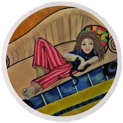 Aj On The Couch Round Beach Towel