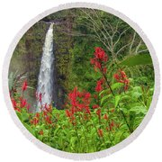 Akaka In Red Round Beach Towel