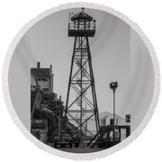 Alcatraz Light House Round Beach Towel