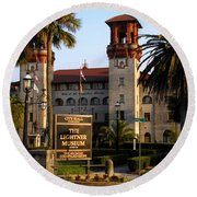 Alcazar Hotel And Lightner Museum St. Augustine Fl. Round Beach Towel