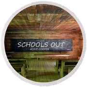 Alice Coopers Schools Out 1972 Round Beach Towel