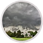 Alive Sky In Wyoming 2 Round Beach Towel