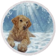 Round Beach Towel featuring the mixed media All I Want For Christmas by Donna Mulley