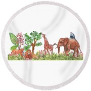 All Is Well In The Jungle Round Beach Towel