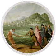 Allegory On The Victory By The Dutch Over The Spanish Fleet At Gibraltar, 25 April 1607 Round Beach Towel