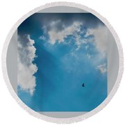 Colours. Blue. Alone. Round Beach Towel