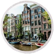 Along An Amsterdam Canal Round Beach Towel