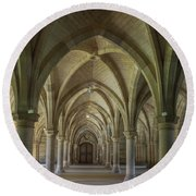 Along The Cloisters Round Beach Towel