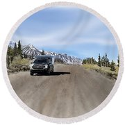 Along The Denali Highway Round Beach Towel